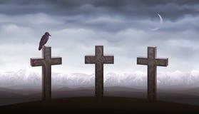 Tre tombe e un corvo Immagini Stock