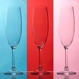 Tre tomma champagneexponeringsglas Fotografering för Bildbyråer