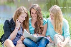 Tre tonåriga flickavänner som läser skolboken Arkivbilder