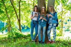 Tre tonårs- skolflickor I sommar parkera in I händer av hållande smartphones Att att motsvara i sociala nätverk flickor arkivbild