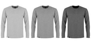Tre tonalità della maglietta lunga grigia della manica Fotografia Stock