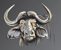 Skissa av en afrikansk buffel vänder mot Arkivfoton