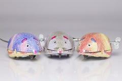 Tre topi del giocattolo di conclusione Immagini Stock