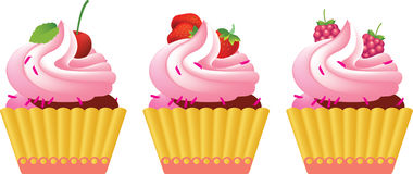 Tre torte di compleanno Fotografia Stock
