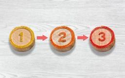 Tre trästycken visa följden av nummer ett två Arkivfoton