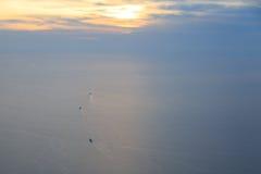 Tre transportskepp som seglar i marmara hav nära istanbul Fotografering för Bildbyråer