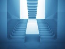 Tre trappuppgångar i blått ljus som labyrintconsctruction Arkivbild