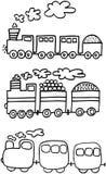 Tre treni Fotografie Stock