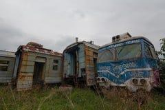 Tre treni abbandonati Fotografia Stock Libera da Diritti