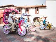 Tre Trishaws i Melaka Malaysia Royaltyfri Fotografi