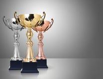 Tre trofei Fotografia Stock