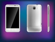 Tre typer av den vita smartphonen med en stor skärm Arkivfoton