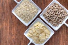 Tre typer av frö som beskådas från över Arkivbild