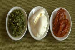 Tre typer av mat med färgerna av den italienska flaggan Royaltyfri Bild