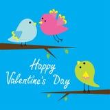 Tre uccelli del fumetto. Carta felice di giorno di biglietti di S. Valentino. Immagine Stock