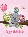 Tre ugglor och koala på en filial med ballongen och hättor royaltyfri illustrationer