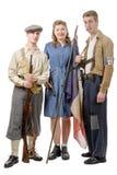 Tre unga franska motstånd, tappningkläder och vapen, reen royaltyfria foton