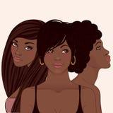 Tre unga nätt afrikanska amerivan kvinnor stock illustrationer