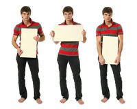 Tre unga sexiga män med kopieringsutrymme förbigår tecken Arkivbilder