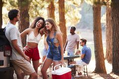 Tre unga vuxna vänner med en kall ask som talar vid en sjö arkivfoto