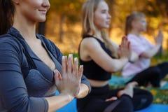 Tre unga yogapraktiker som gör yoga, övar parkerar in Kvinnor mediterar utomhus- i framdel av den härliga höstnaturen royaltyfri bild