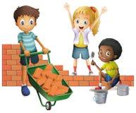 Tre ungar som bygger tegelstenväggen royaltyfri illustrationer