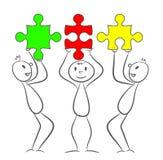 Tre uomini del bastone con i pezzi di puzzle di rettangolo Illu di vettore di ENV 10 illustrazione di stock