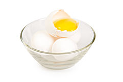 Tre uova bianche Fotografie Stock