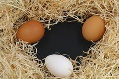Tre uova con lo spazio della copia e della lana di legno sul nero Fotografie Stock