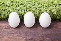 Tre uova di Pasqua bianche Fotografia Stock Libera da Diritti