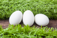 Tre uova di Pasqua bianche Immagini Stock Libere da Diritti