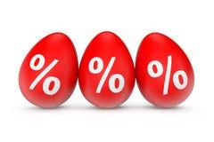 Tre uova di Pasqua con il segno di percentuali Fotografia Stock Libera da Diritti