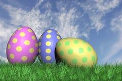 Tre uova di Pasqua macchiate Fotografia Stock