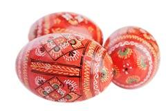 Tre uova di Pasqua verniciate. Immagini Stock