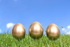 Tre uova dorate in erba Fotografia Stock Libera da Diritti