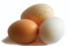 Tre uova hanno isolato il fondo bianco Immagine Stock