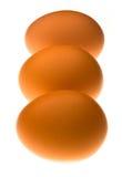 Tre uova illuminate in una riga Fotografia Stock Libera da Diritti