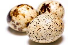 Tre uova su priorità bassa bianca Immagini Stock Libere da Diritti