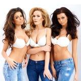 Tre ursnygga sexiga unga kvinnor Royaltyfria Bilder