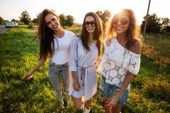 Tre ursnygga unga kvinnor i iklädd solglasögon den härliga kläderna står, i fältet och att le på en solig dag arkivbild