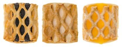 Tre utsmyckade kakor med olika fyllningar Royaltyfri Fotografi
