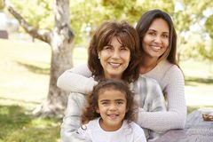 Tre utvecklingar av kvinnor på en familj har picknick i en parkera fotografering för bildbyråer