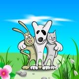 Tre vänner på gräs Royaltyfria Foton