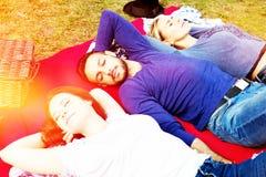 Tre vänner som har en picknick och tycker om solen royaltyfri foto