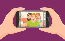 Tre vänner som tar en selfie Arkivfoto