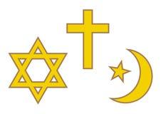 Tre världsreligionsymboler Judendom, kristendomen och islam också vektor för coreldrawillustration royaltyfri illustrationer