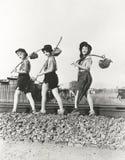 Tre vagabondi femminili Fotografia Stock