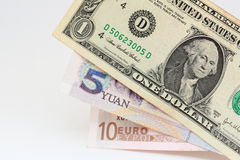 Tre valute importanti Fotografia Stock Libera da Diritti