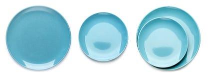 Tre varianter av blåa cymbaler bakgrund isolerad white Royaltyfri Bild