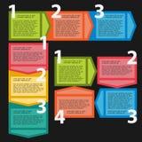 Tre varianter av sekventiella moment för infographics Royaltyfri Illustrationer